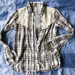 Free people plaid button down with lace
